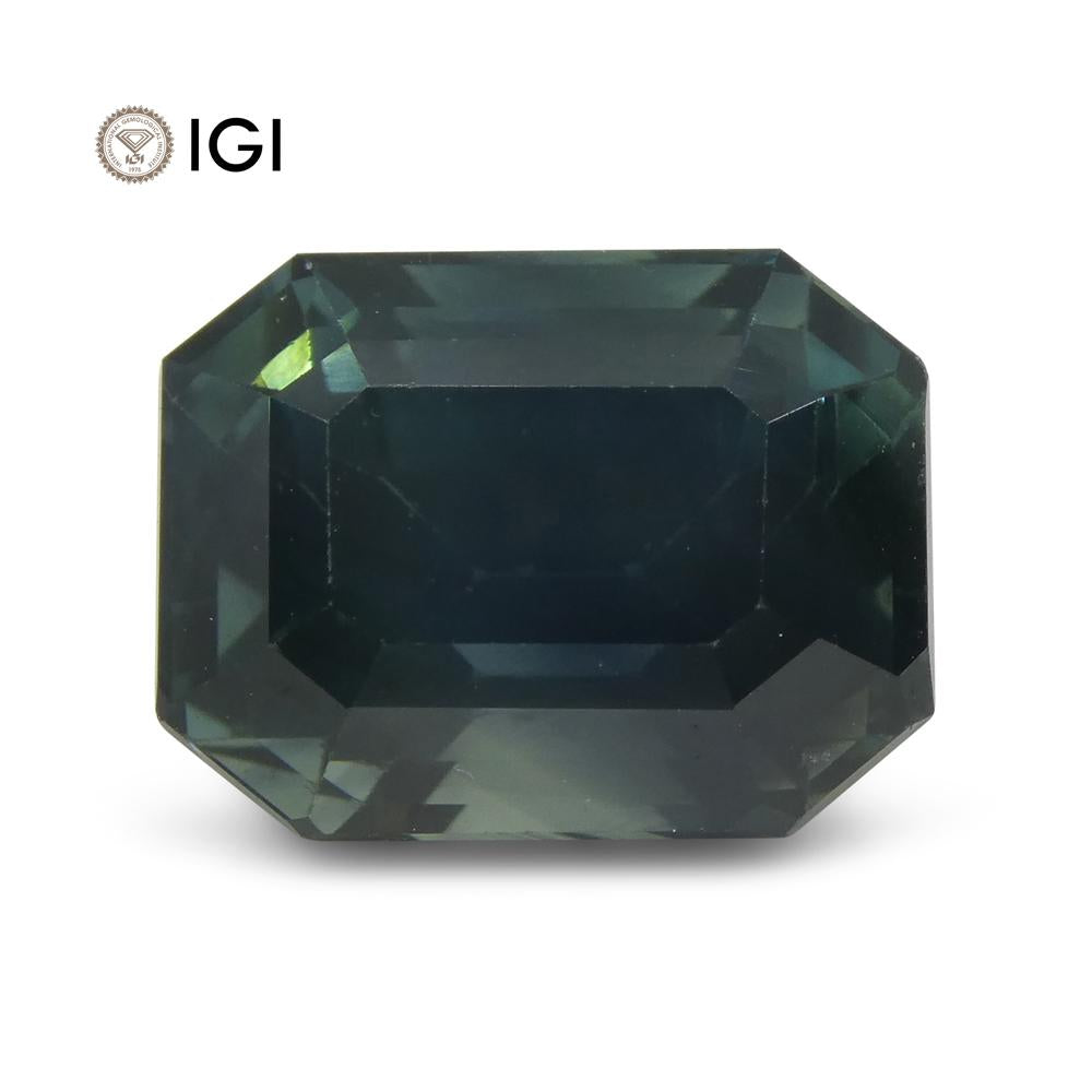 8.32ct Teal Sapphire, Emerald Cut IGI Certified Ethiopian, Unheated