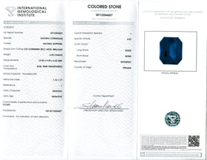6.25 ct Sapphire Emerald Cut IGI Certified Ethiopian, Unheated