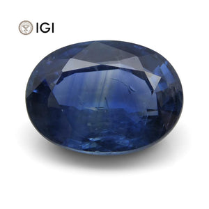 3.91 ct Blue Sapphire Oval IGI Certified Tanzanian - Skyjems Wholesale Gemstones