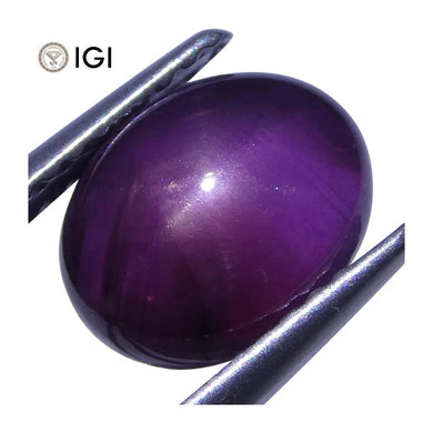 3.58 ct Cabochon Oval Purple Star Sapphire IGI Certified Unheated - Skyjems Wholesale Gemstones
