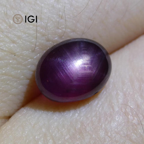 3.58 ct Cabochon Oval Purple Star Sapphire IGI Certified Unheated
