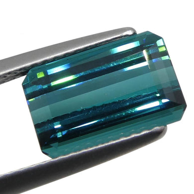 Fine Quality 4.33ct, Emerald Cut Lagoon Blue Indicolite Tourmaline, IGI Certified - Skyjems Wholesale Gemstones