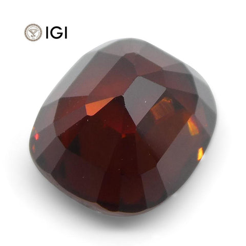 3.52 ct Cushion Red Zircon IGI Certified