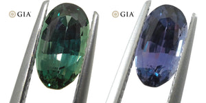 1.59ct Oval Alexandrite GIA Certified Green-Blue to Purple - Skyjems Wholesale Gemstones