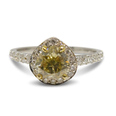 GIA Certified 1ct. Yellow Diamond Ring in 14kt White Gold
