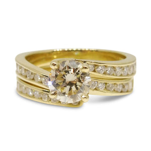 1.01ct. Diamond Bridal Set in 14kt Yellow Gold IGI Certified