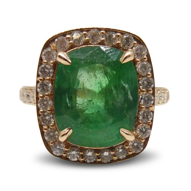 3.54 ct. Emerald Ring in 14kt Pink/Rose Gold