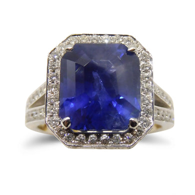 5.10 ct. Unheated Blue Sapphire Ring in 18kt White Gold CGL-GRS Certified