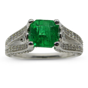 1.62 ct Colombian Emerald, 14kt Gold, Diamond Ring