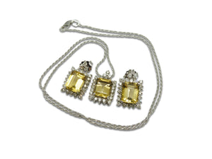 18kt White Gold Heliodor Pendant and Earring Set with Diamond Halo