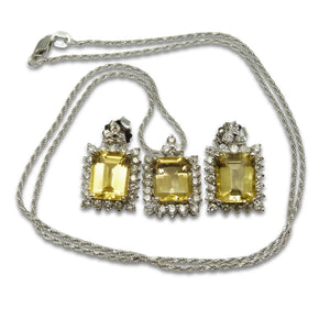 Heliodor Pendant and Earrings Set in 18kt White Gold with 1.50 cts Diamond Halo - GS Laboratories Certified - Skyjems Wholesale Gemstones