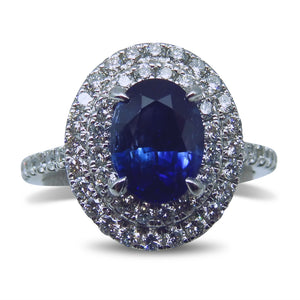 18kt White Gold 'Soleste' Style Ring with Double Diamond Halo, set with a 1.49ct. GIA Certified Unheated Sapphire