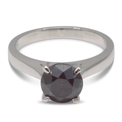 1.85 ct. Black Diamond Solitaire Ring in 14kt White Gold