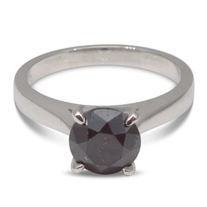 1.85ct. Black Diamond Solitaire Ring in 14kt White Gold