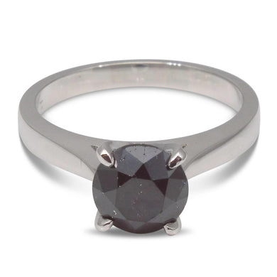 Fine Quality 1.85 ct. Black Diamond Solitaire Ring in 14kt White Gold - Skyjems Wholesale Gemstones