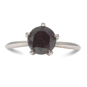 1.91ct. Black Diamond Solitaire Ring in 14kt White Gold