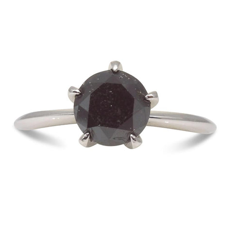 Fine Quality 1.91 ct. Black Diamond Solitaire Ring in 14kt White Gold