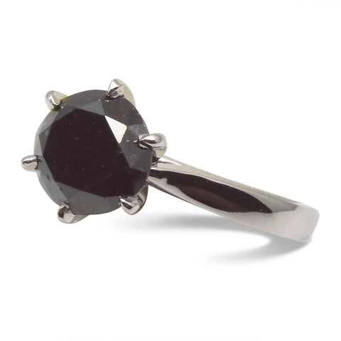 Fine Quality 2.32 ct. Black Diamond Solitaire Ring in 14kt White Gold