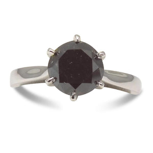 Fine Quality 2.32 ct. Black Diamond Solitaire Ring in 14kt White Gold - Skyjems Wholesale Gemstones