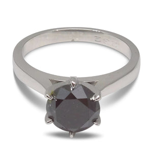 2.32 ct. Black Diamond Solitaire Ring in 14kt White Gold