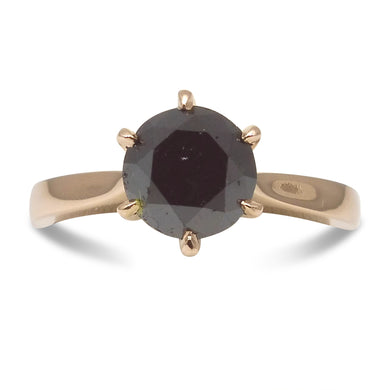 2.52ct. Black Diamond Solitaire Ring in 14kt Pink/Rose Gold