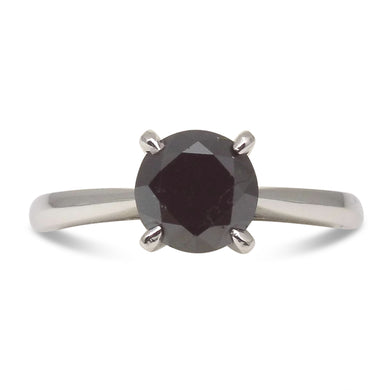 1.76ct. Black Diamond Solitaire Ring in 14kt White Gold