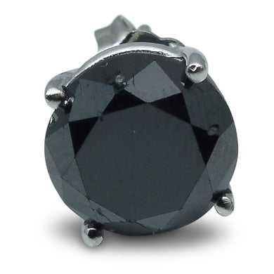 3.45 cts. Black Diamond Single/Men's Stud Earring in 14kt White Gold