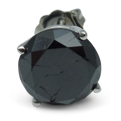 3.75 cts. Black Diamond Single/Men's Stud Earring in 14kt White Gold