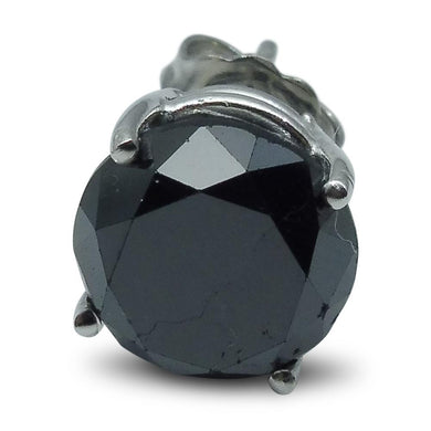 3.66 cts. Black Diamond Single/Men's Stud Earring in 14kt White Gold