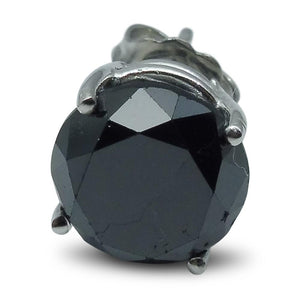 3.66 cts. Black Diamond Single/Men's Stud Earring in 14kt White Gold - Skyjems Wholesale Gemstones