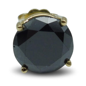 2.50 cts. Black Diamond Single/Men's Stud Earring in 14kt Yellow Gold
