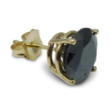 3.18 cts. Black Diamond Single/Men's Stud Earring in 14kt Yellow Gold
