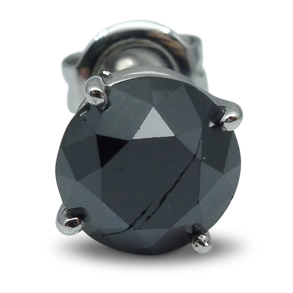1.52 ct. Black Diamond Single/Men's Stud Earring in 14kt White Gold