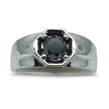 1.51 cts. Black Diamond Men's Engagement Ring in 14kt White Gold
