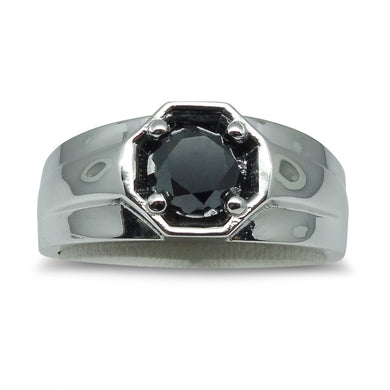 1.51ct Heavy Black Diamond Solitaire/Engagement Ring in 14kt White Gold