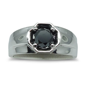 1.51 cts. Black Diamond Men's Solitaire/Engagement Ring in 14kt White Gold