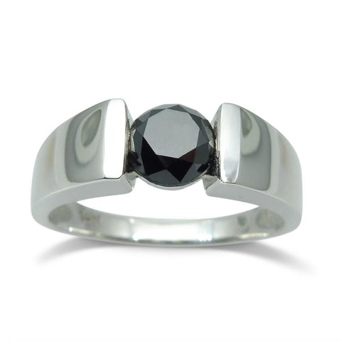 Fine Quality 1.72 cts. Black Diamond Unisex Solitaire Ring in 14kt White Gold