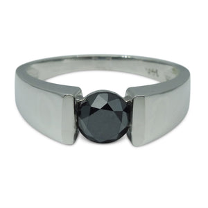 1.72 cts. Black Diamond Men's Solitaire/Engagement Ring in 14kt White Gold