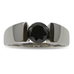 Fine Quality 1.80ct. Black Diamond Unisex Solitaire Ring 14kt White Gold Ring - Skyjems Wholesale Gemstones