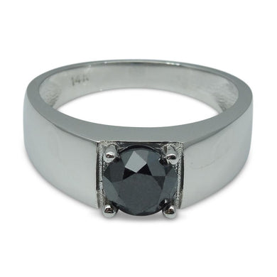 Fine Quality 1.68 ct. Black Diamond Unisex Solitaire Ring in 14kt White Gold - Skyjems Wholesale Gemstones