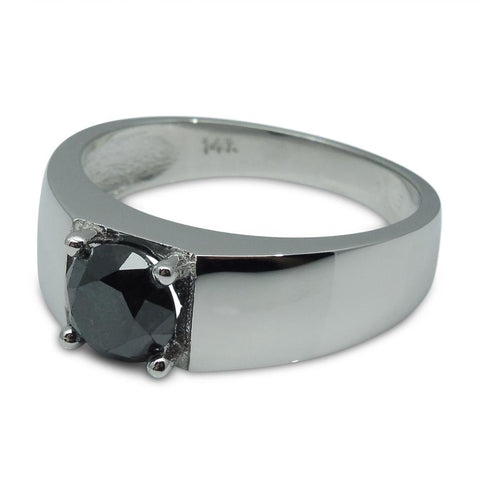 Fine Quality 1.68 ct. Black Diamond Unisex Solitaire Ring in 14kt White Gold