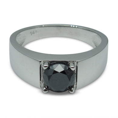 1.57 ct. Black Diamond Men's Solitaire/Engagement Ring in 14kt White Gold