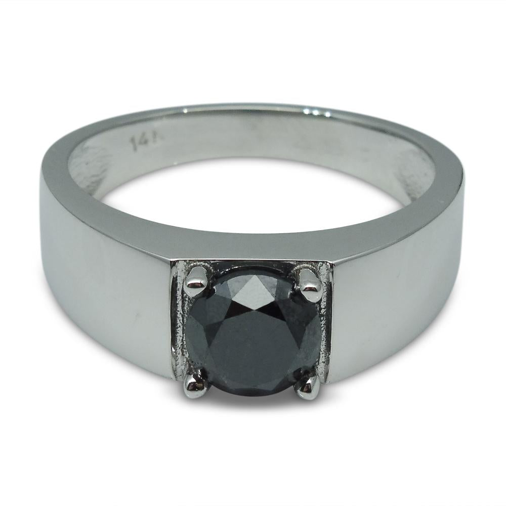 Fine Quality 1.57 ct. Black Diamond Unisex Solitaire Ring in 14kt White Gold