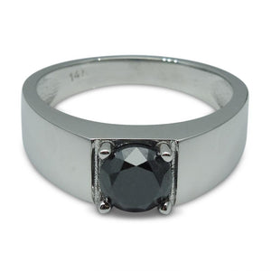 Fine Quality 1.57 ct. Black Diamond Unisex Solitaire Ring in 14kt White Gold - Skyjems Wholesale Gemstones