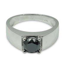 1.57 ct. Black Diamond Men's Solitaire Ring in 14kt White Gold