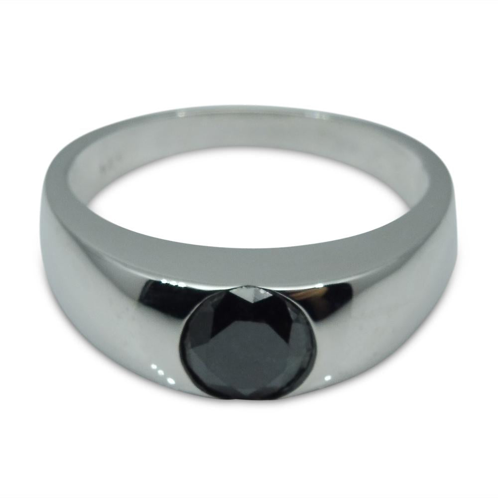 Fine Quality 1.38 ct. Black Diamond Unisex Solitaire Ring in 14kt White Gold