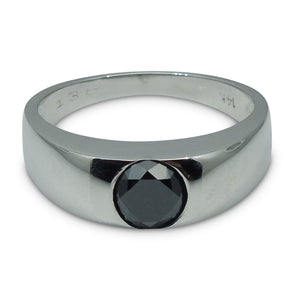 1.38 ct. Black Diamond Men's Solitaire Ring in 14kt White Gold