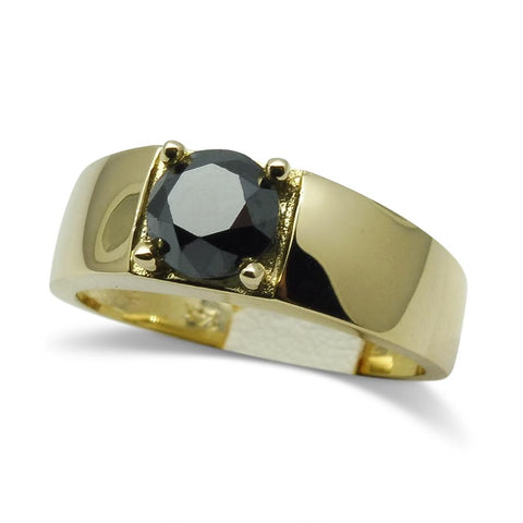 Fine Quality 1.70 ct. Black Diamond Unisex Solitaire Ring in 14kt Yellow Gold