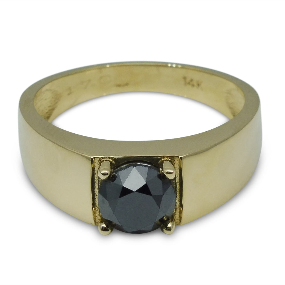 1.70 ct. Black Diamond Men's Solitaire Ring in 14kt Yellow Gold