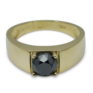 Fine Quality 1.70 ct. Black Diamond Unisex Solitaire Ring in 14kt Yellow Gold - Skyjems Wholesale Gemstones